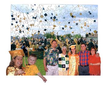wooden jigsaw puzzle graduation celebration hats off